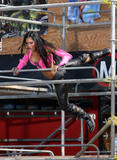 Nicole Scherzinger show off her body in pink top on the set of When I Grow Up