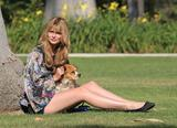 Mischa Barton walking and playing with her dog in a park in Los Angeles